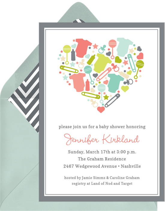 baby heart invitations in grey greenvelope com