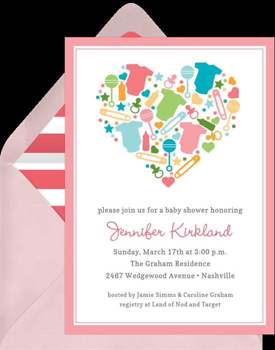 baby heart invitations in pink greenvelope com