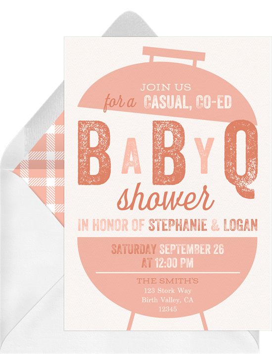 baby q grill invitations in pink greenvelope com