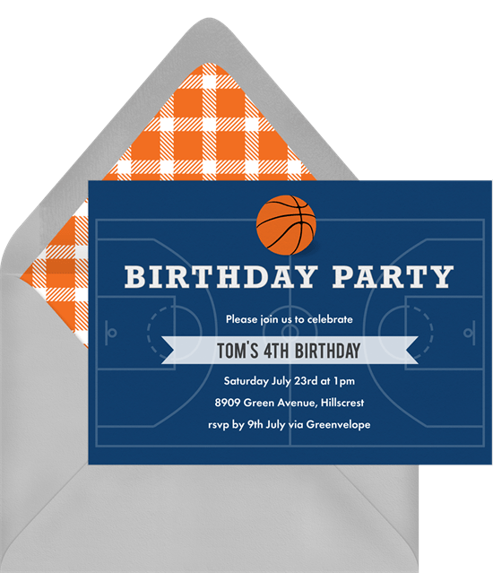 basketball party invitation in blue - Basketball Party Invitations