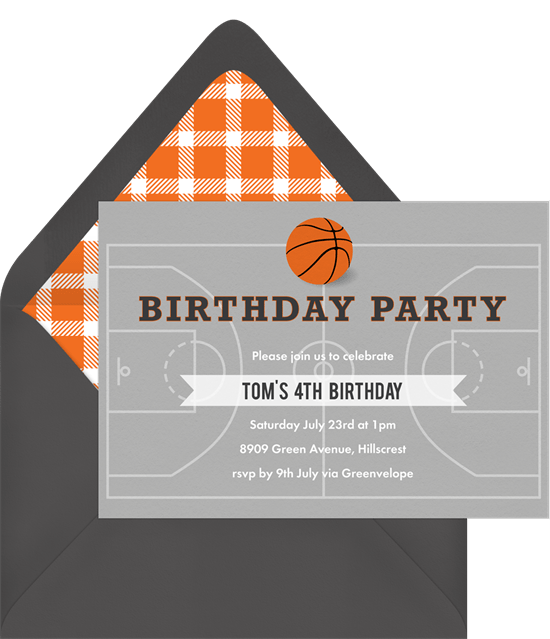 basketball party invitation in grey - Basketball Party Invitations
