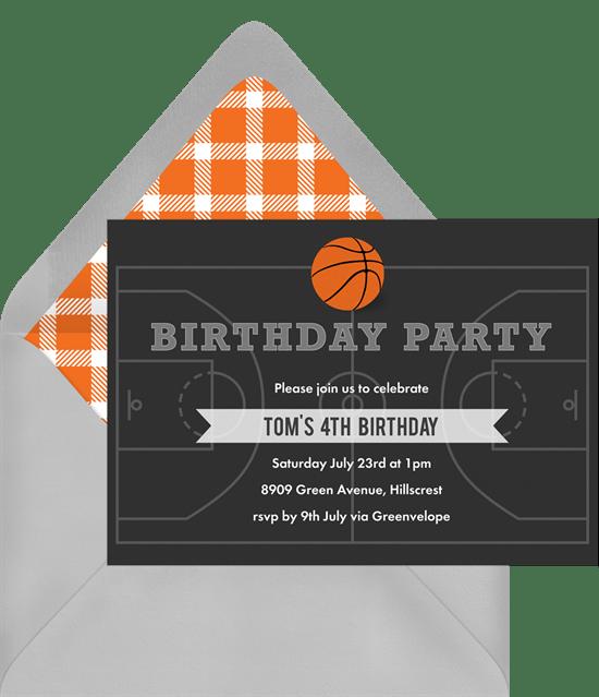 Basketball Party Invitations Greenvelopecom