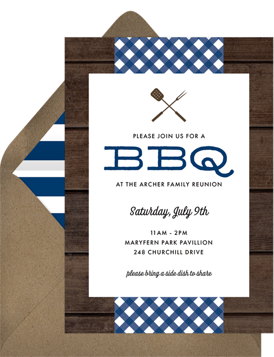 bbq picnic invitations in blue greenvelope com