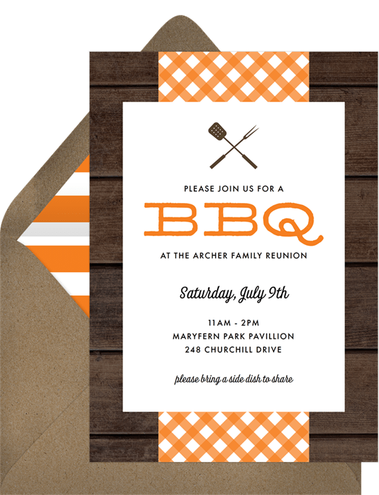 bbq picnic invitations in orange greenvelope com