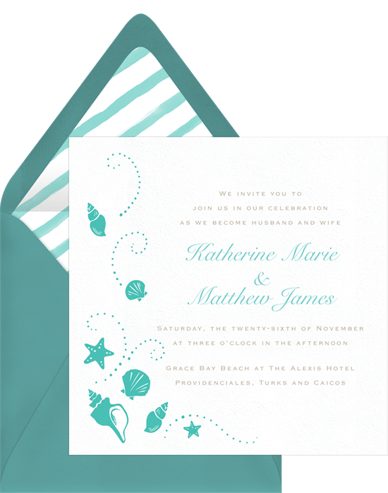 Beach Shells Invitation in White