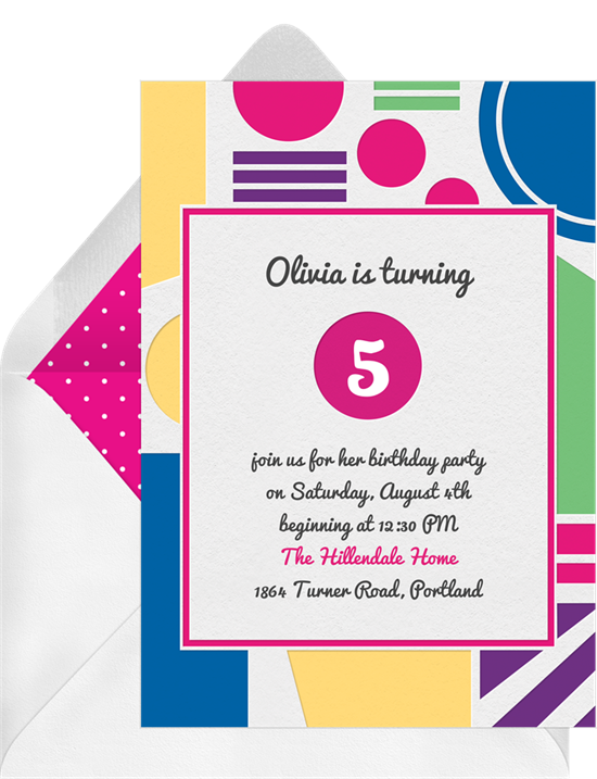 Big Bold Shapes Invitations In Pink Greenvelope Com