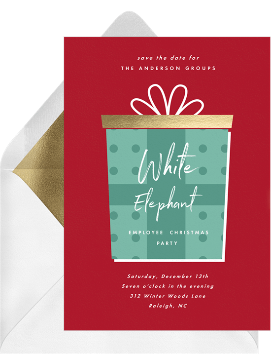 Christmas Party Save The Date Cards.Big Present Save The Dates In Red Greenvelope Com