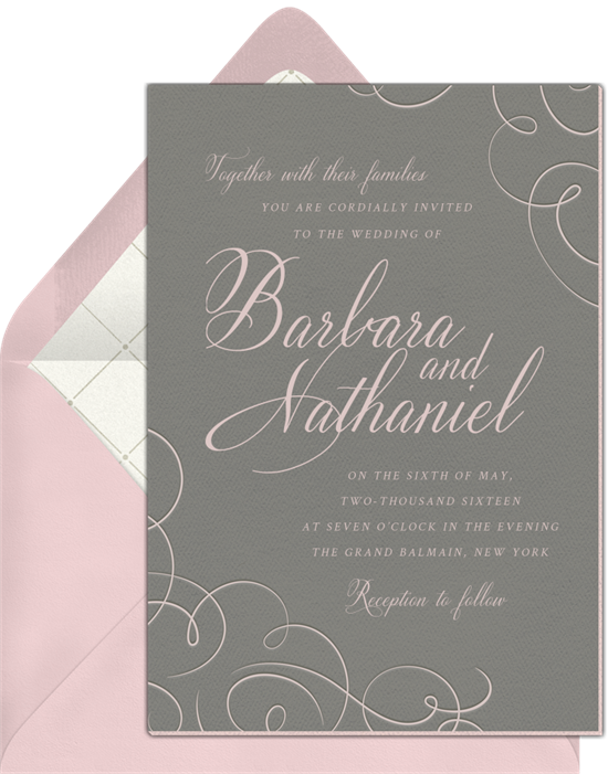 Blush Grey Dream Invitation in Pink
