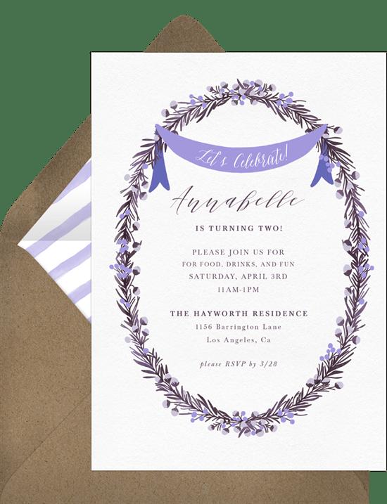 Boho Wreath Anniversary Invitation