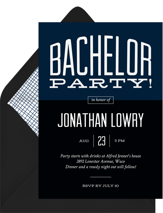 Bold Bachelor Invitations in Blue Greenvelopecom