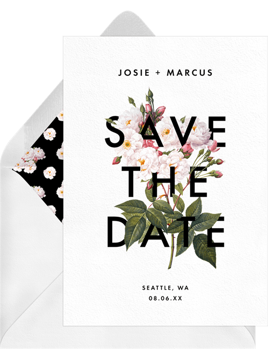Bold Botanical Save The Dates In White Greenvelope Com