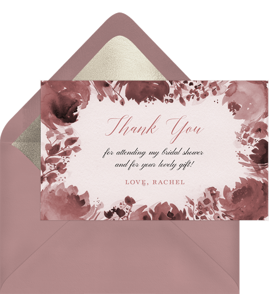 bold bouquet thank you note