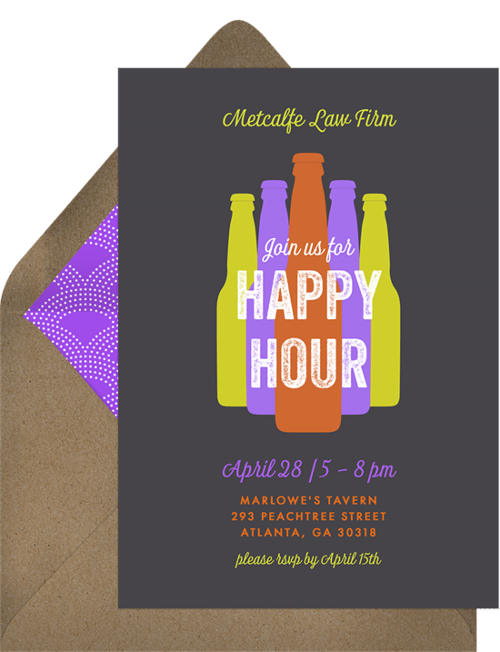 Bottled Happy Hour Invitations in Grey Greenvelopecom