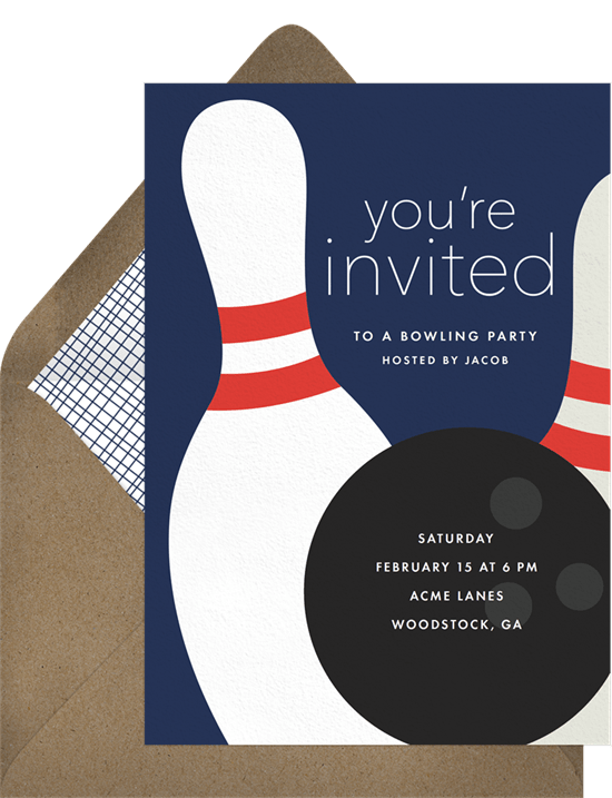 bowling party invitations in blue greenvelope com