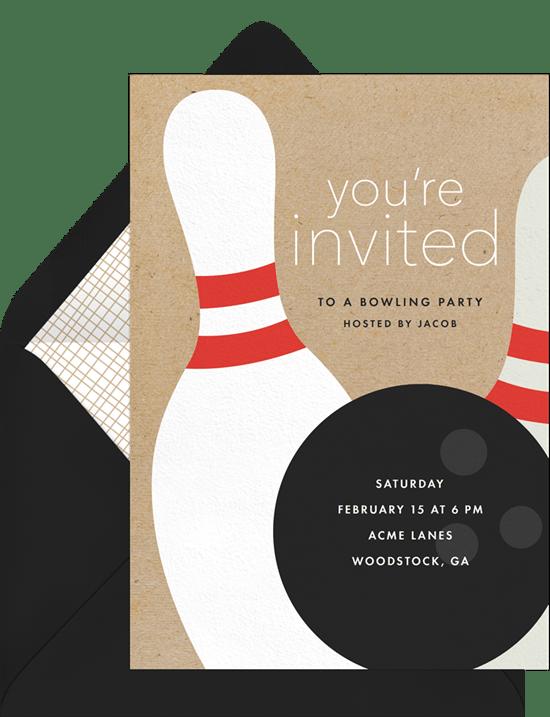 bowling party invitations greenvelope com