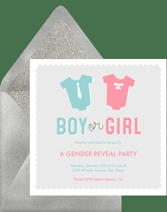 boy or girl invitations in pink greenvelope com