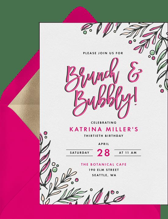 brunch bubbly invitations greenvelope com