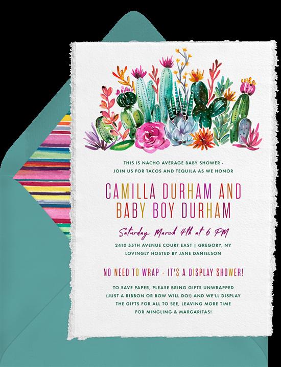 cactus blossoms invitations in pink greenvelope com