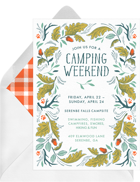 camping weekend invitations greenvelope com