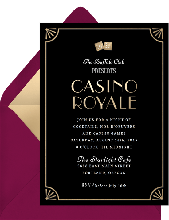 Casino Royale Invitations In Black Greenvelope Com