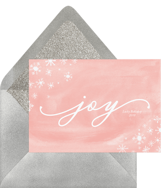 'Charming Snowflakes' Business Holiday Greetings Card in Pink
