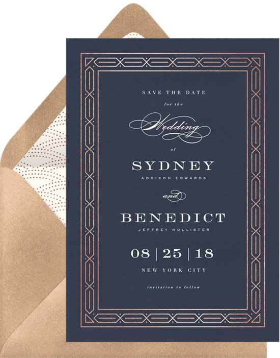 Chic Art Deco Save The Dates Greenvelope Com