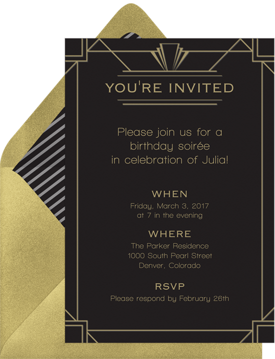 Classic Art Deco Invitations in Black Greenvelopecom