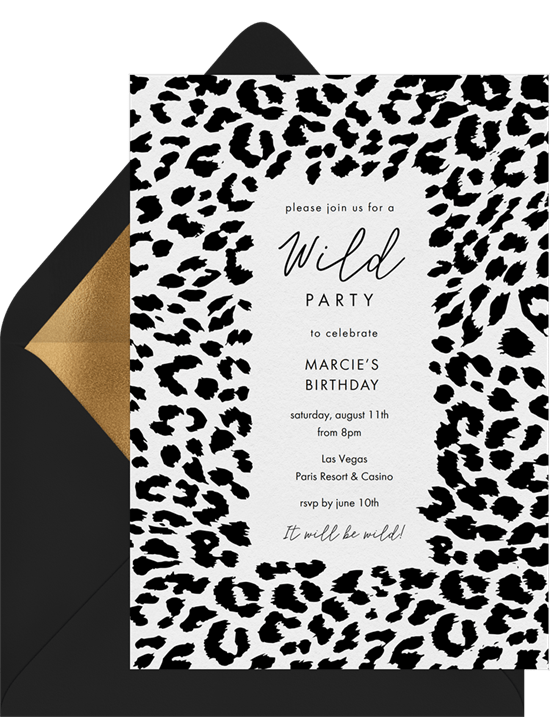 Clic Cheetah Print Invitations In White Greenvelope