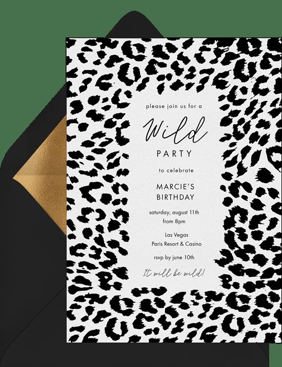 Classic Cheetah Print Invitations In White Greenvelope Com