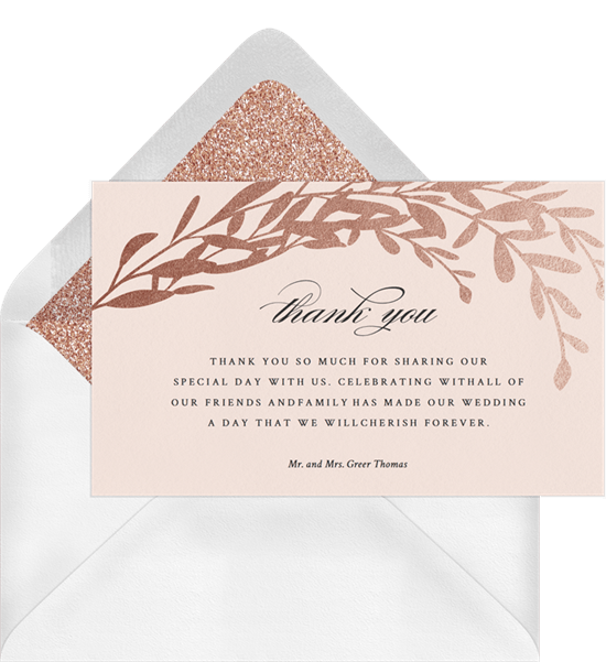 classic foil laurels thank you notes in pink greenvelope com
