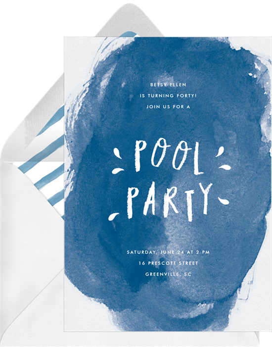 Classic Pool Party Invitations – Classic Party Invitations