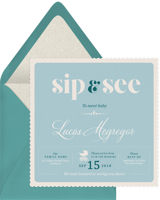 classy sip see invitations in blue greenvelope com