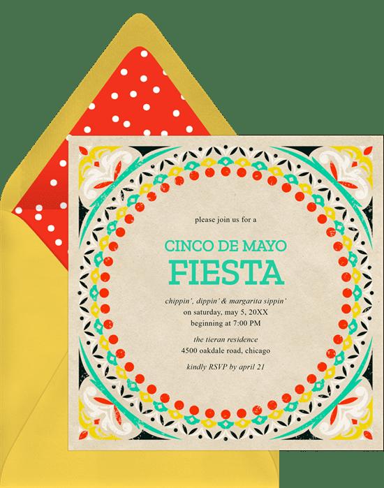 colorful fiesta invitations in red greenvelope com