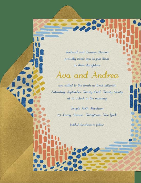 colorful mosaic invitations in orange greenvelope com
