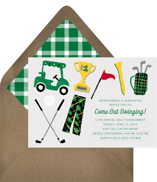 Come out swinging invitations in white greenvelope come out swinging invitation in white stopboris Gallery