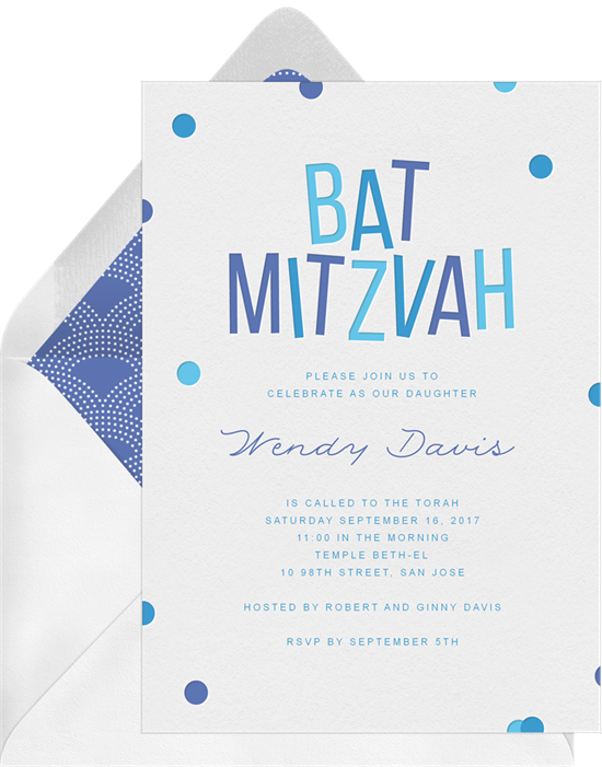 Confetti Bat Mitzvah Invitations in Blue Greenvelopecom