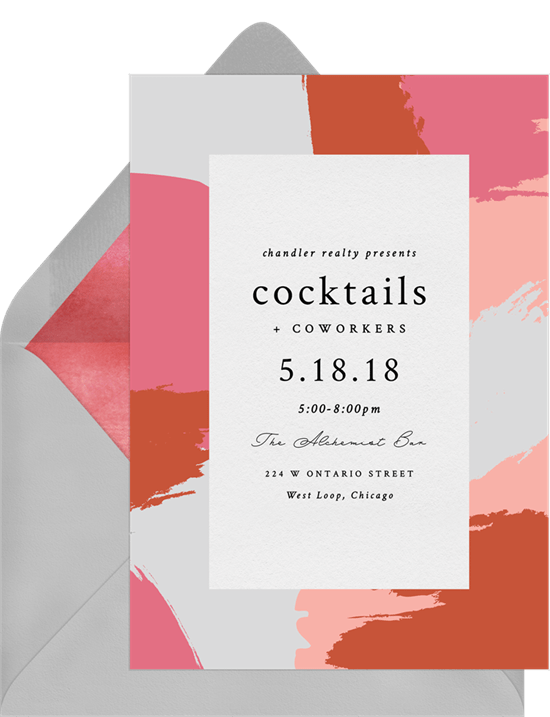 contemporary paint splashes invitations in pink greenvelope com