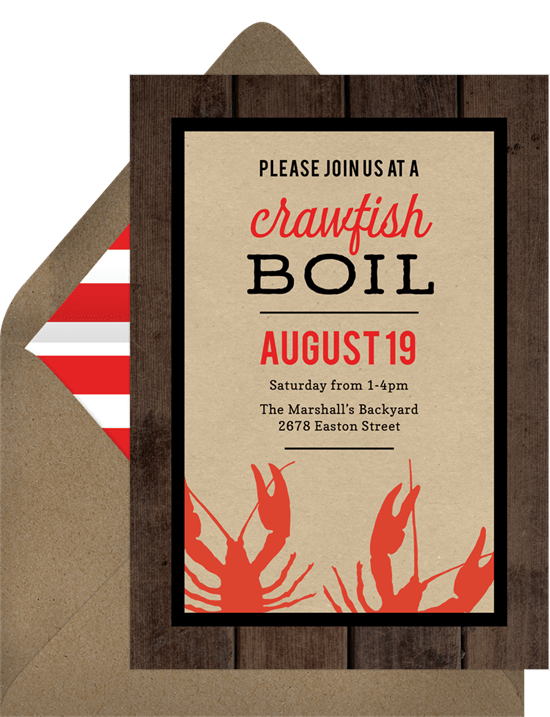 Crawfish Boil Invitations Greenvelopecom