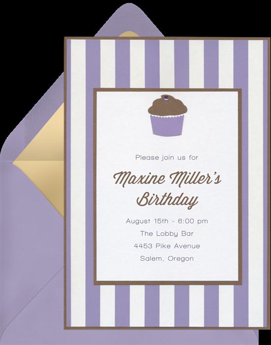cupcake gem invitations purple o529~16 cupcake gem invitations in purple greenvelope com,Gem Invitations