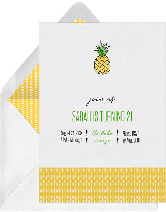 cute pineapple invitations in yellow greenvelope com