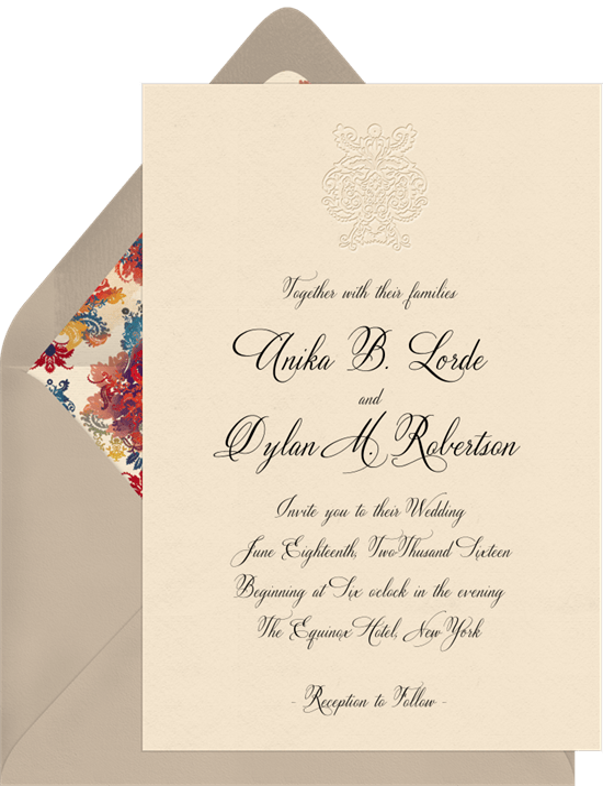 deconstructed damask invitations in blue greenvelope com