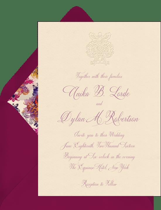 deconstructed damask invitations in purple greenvelope com
