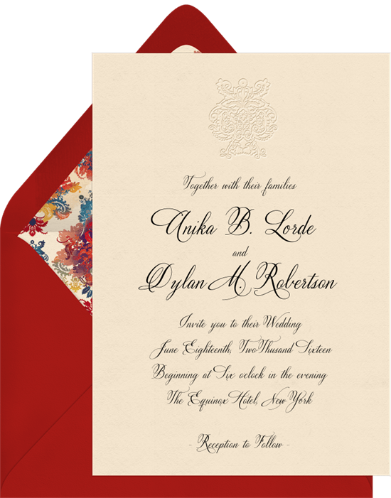 deconstructed damask invitations in red greenvelope com