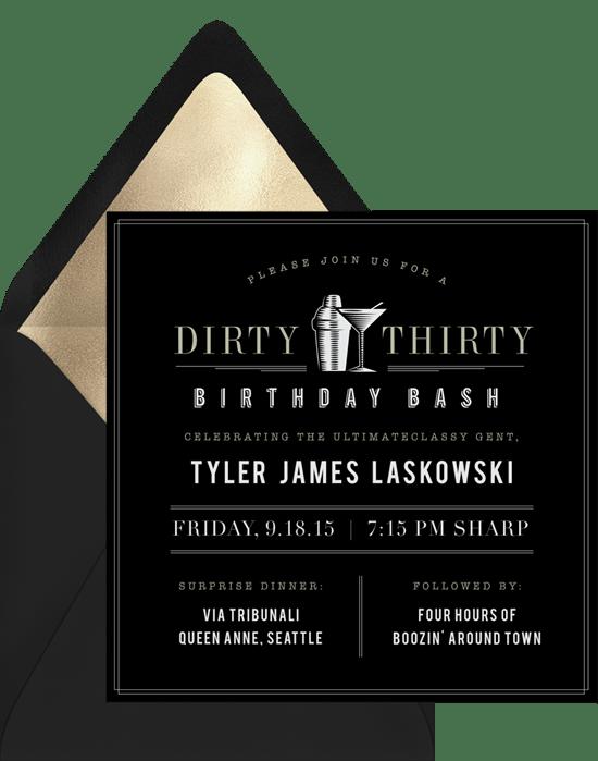 Dirty Thirty Invitations Greenvelope Com