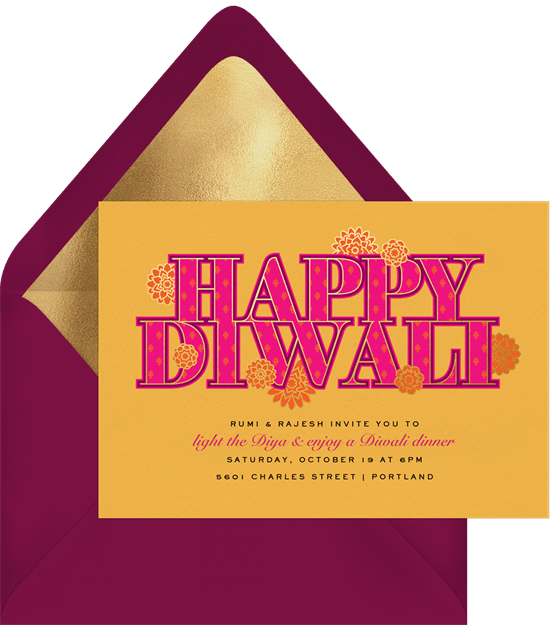 Diwali blooms invitations in yellow greenvelope diwali blooms invitation in yellow stopboris Choice Image