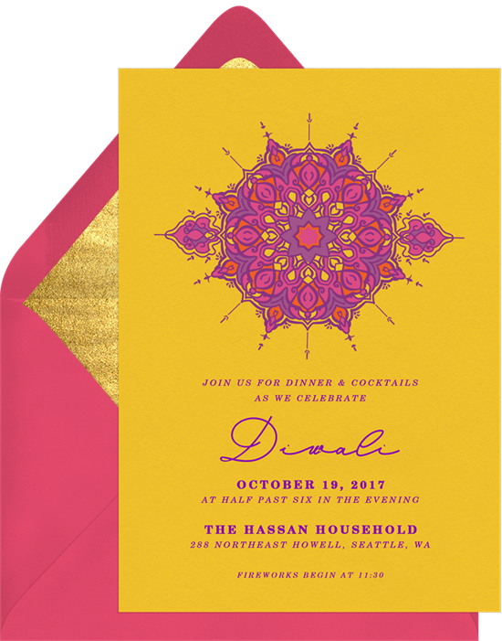 Diwali medallion invitations in yellow greenvelope diwali medallion invitation in yellow stopboris Image collections