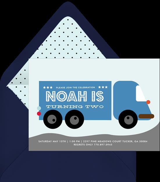 dump truck invitations greenvelope com