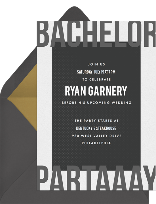 Edgy Bachelor Invitations in Black Greenvelopecom