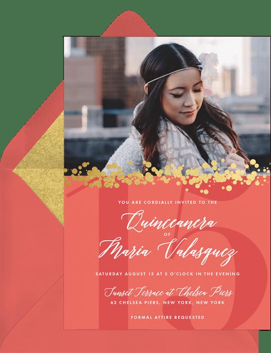 effervescent quinceañera invitations in orange greenvelope com