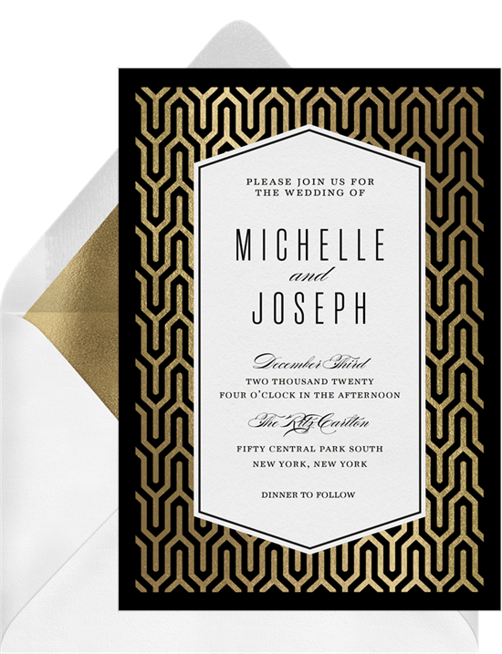 elegant art deco invitations in gold greenvelope com